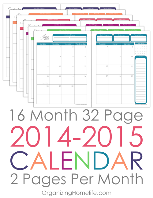 2014 2015 Printable Calendar Via Organizing Homelife Diy Planner