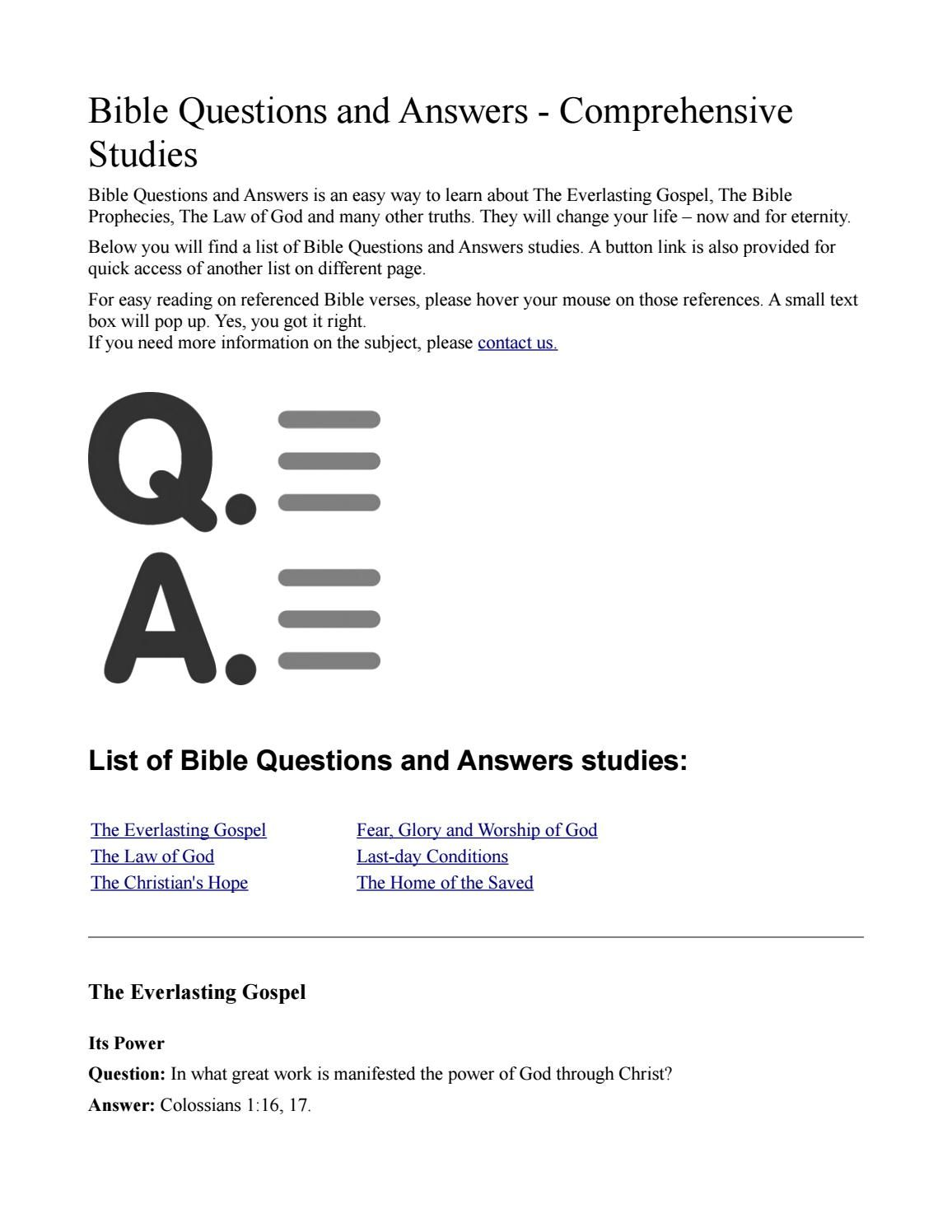 Bible Questions and Answers Comprehensive Studies (With ...
