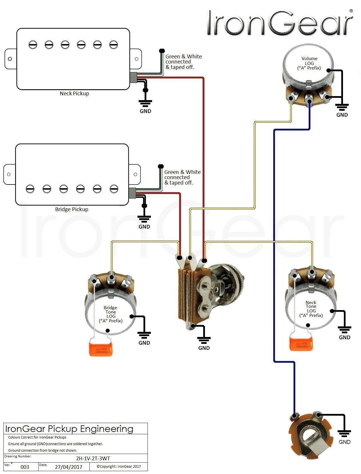 Guitar Wiring Diagram 2 Humbucker 1 Volume 1 Tone In 2020