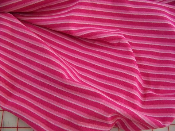 Hot pink and bubble gum pink stripe cotton knit