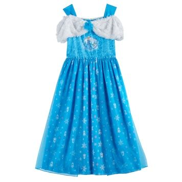 Disney Frozen Girl Dress Up Night Gown Size 10 Blue