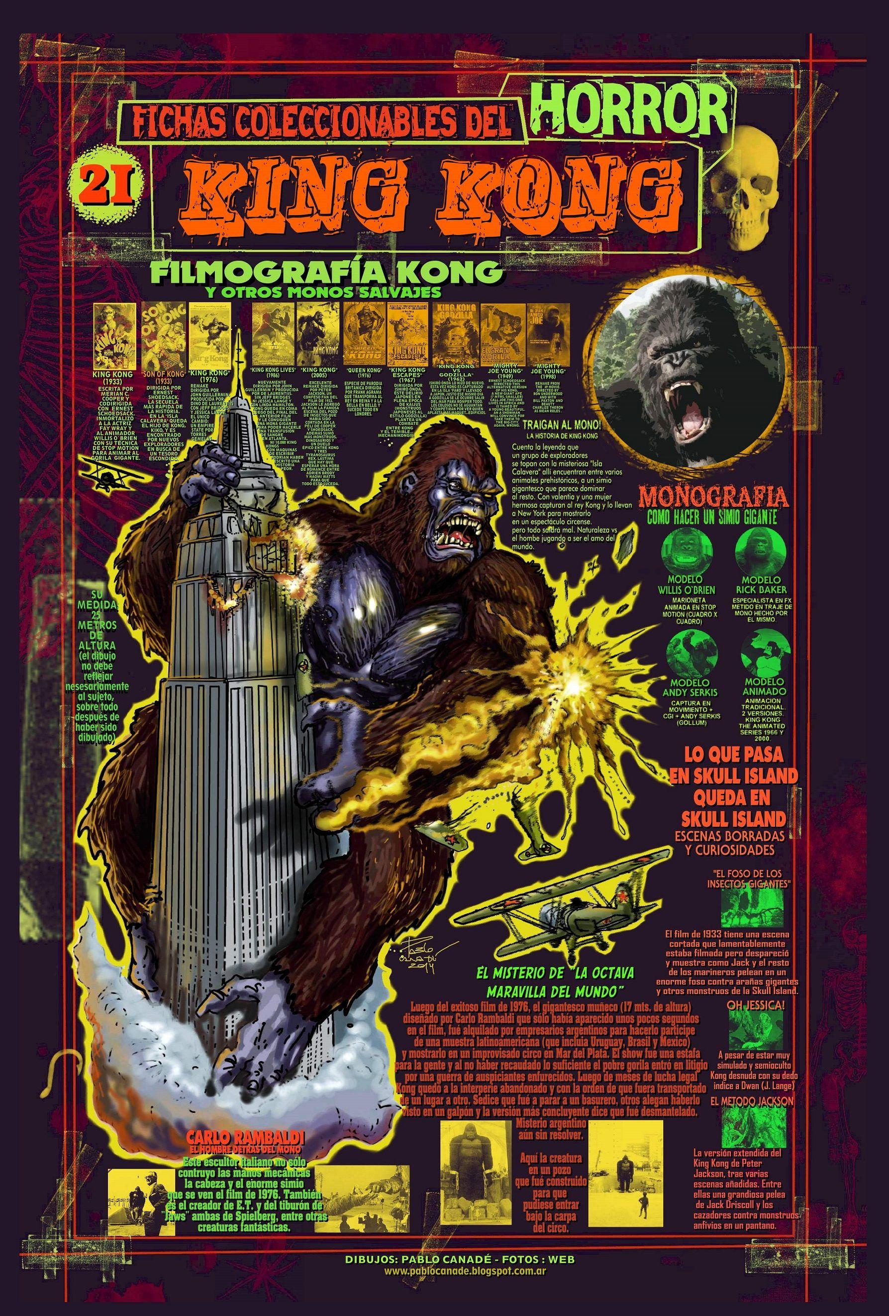 Ficha Infografica Homenaje A El Film King Kong Dibujos Y Disenos Mios Horror Card Horror Characters Horror Movies