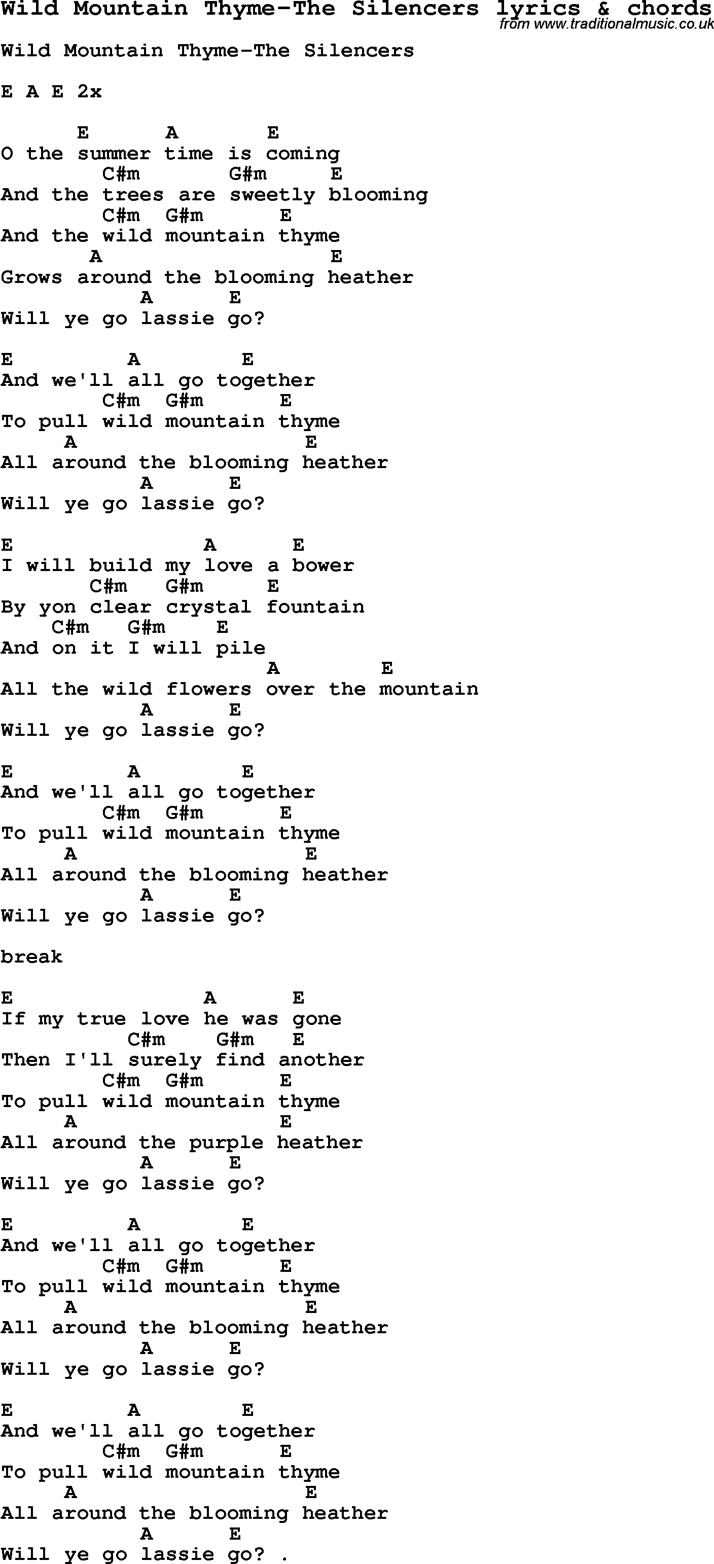Love Song Lyrics For Wild Mountain Thyme The Silencers With Chords