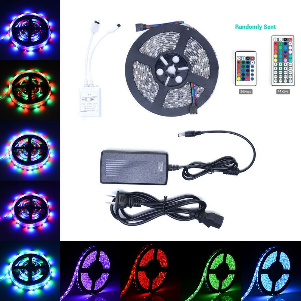 5m Rgb 300 Led Strip Light 3528 5050 24keys Remote 12v Power Full Connectors Wiring For Single Color Smd Ebay Superbright High Intensity And Reliability Red