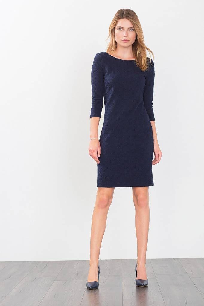 esprit jurk met jacquard structuur - navy   christmas 2016 - esprit