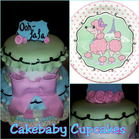 Custom Pink Poodle in Paris themed 2 tiered2 flavor Birthday cake
