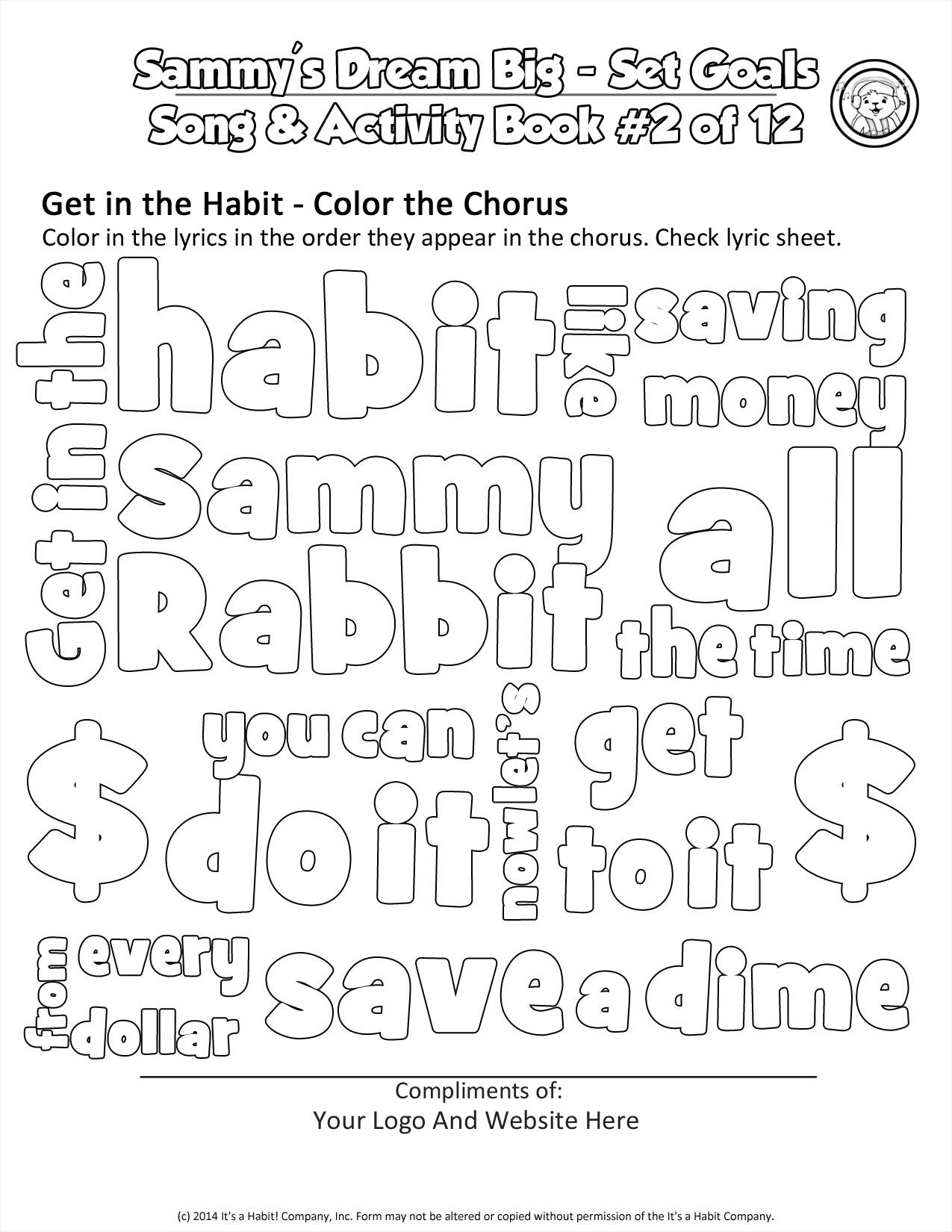Sammy Rabbit Coloring Cloud Activity Sheet Worksheet