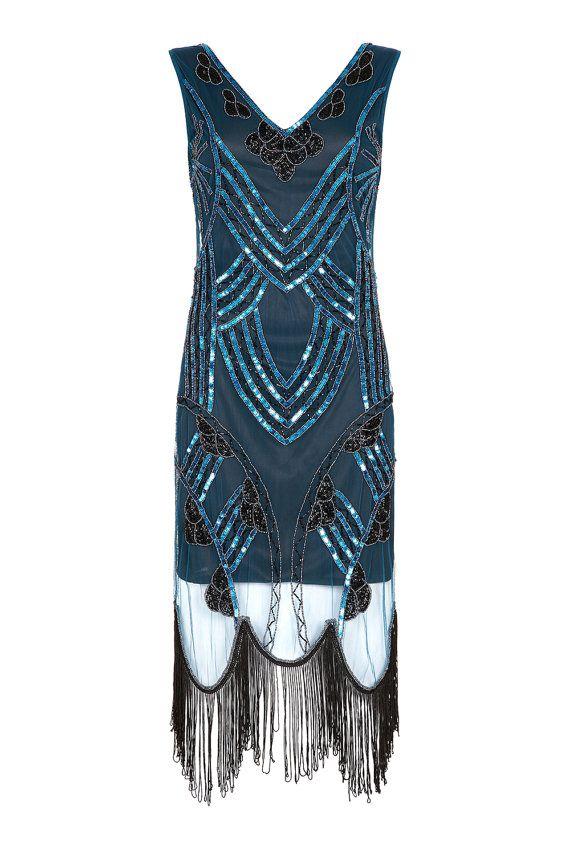 Plusgrosse Juliet Plus Grosse Teal Schwarz Flapper Fransen Kleid 1920er Stil 1920er Kleid Flapper Kleider