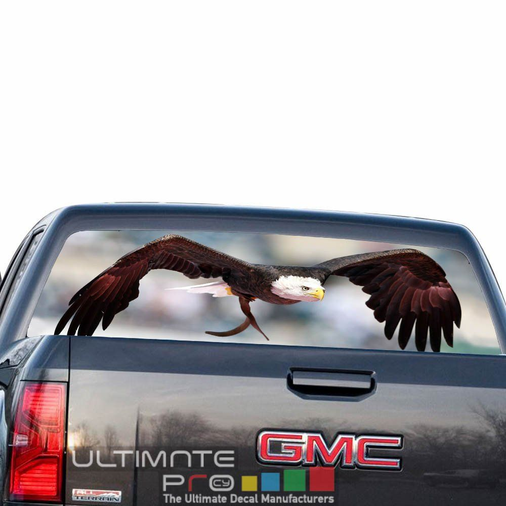 4x4 off road decals rear window perforated see thru sticker graphic decal sticker eagle compatible with gmc sierra film printed 4x4