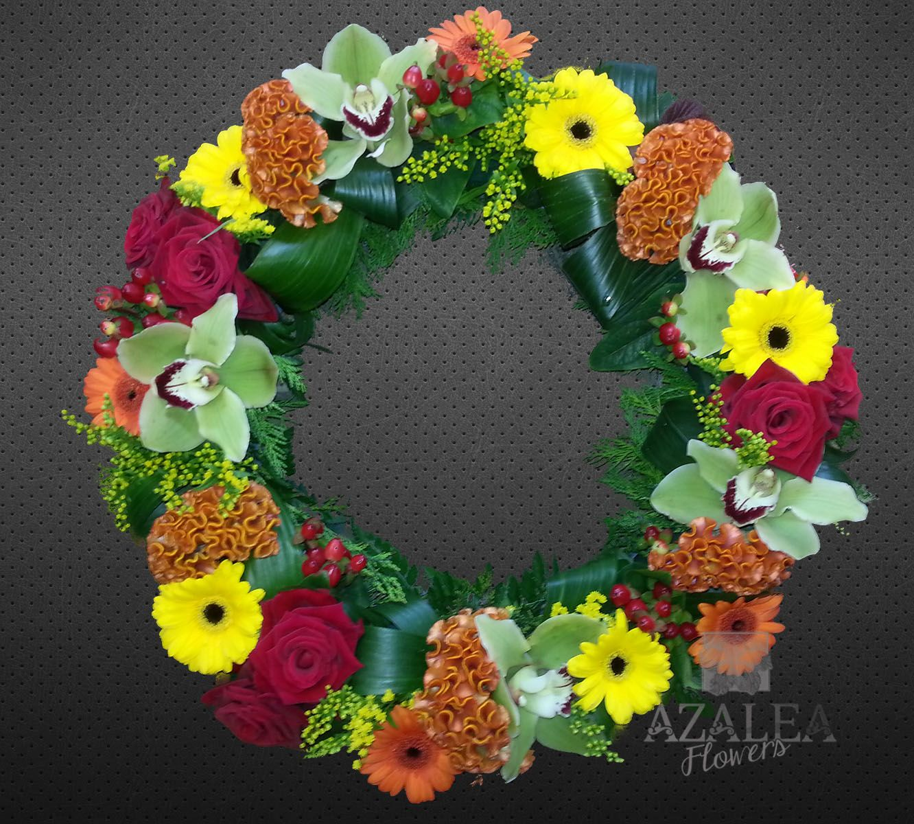 Vibrant funeral wreath sympaty funeral flowers pinterest vibrant funeral wreath izmirmasajfo