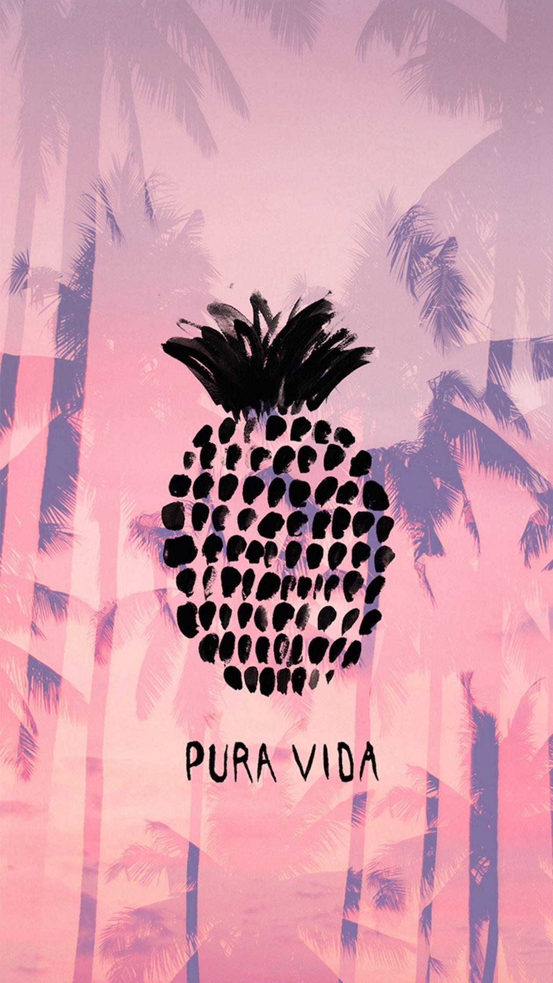 Pura Vida Summer Pineapple Iphone 8 Wallpaper Wallpaper
