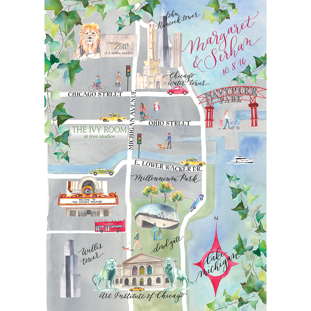 Wedding Map of Chicago, watercolor illustration by Lemontree Calligraphy & Illustration