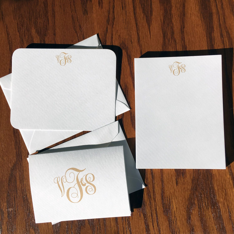 New to VeronicaFoleyDesign on Etsy: Monogrammed Stationery Set Personalized Stationery Gift Set Monogrammed Gift Set Traditional Script Monogrammed Stationary (49.00 USD)