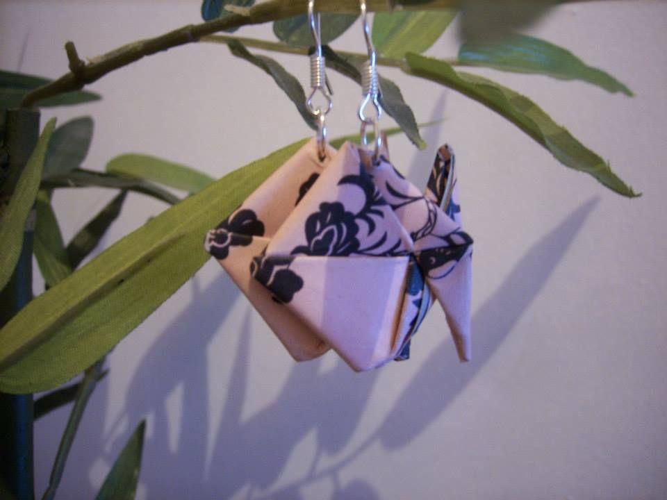 Paire de boucles d'oreilles Origami ! Petits poissons stylisés