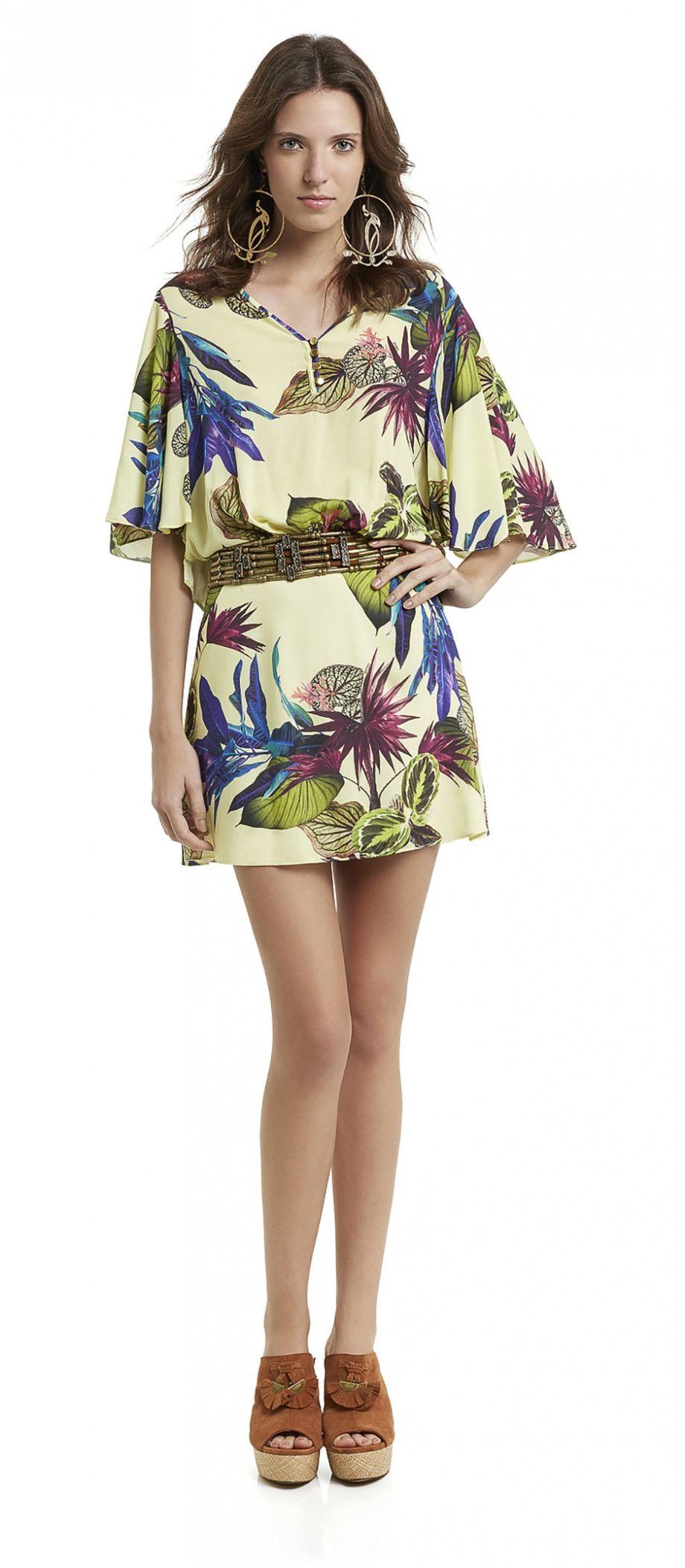 dc96c188d435 vestido curto decote v com botões manga até os cotovelos soltinha estampado  floral botanico