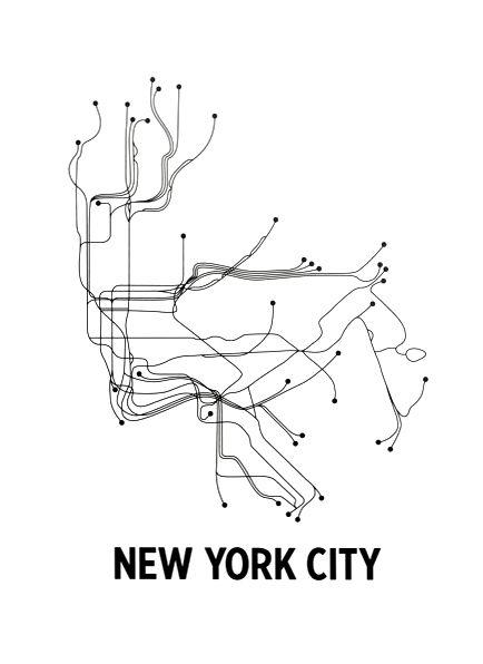 Black White Subway Map.New York Subway Map Prints Nyc Subway Subway Map New York City