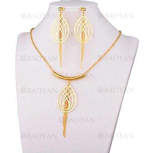 juego collar y aretes de estilo borla y forma gosta agua en acero dorado inoxidable -SSNEG183567
