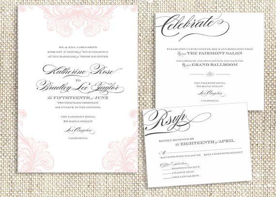 Romantic Flourishes / DIY Print at Home Wedding Invitation Suite $65 Digital Files