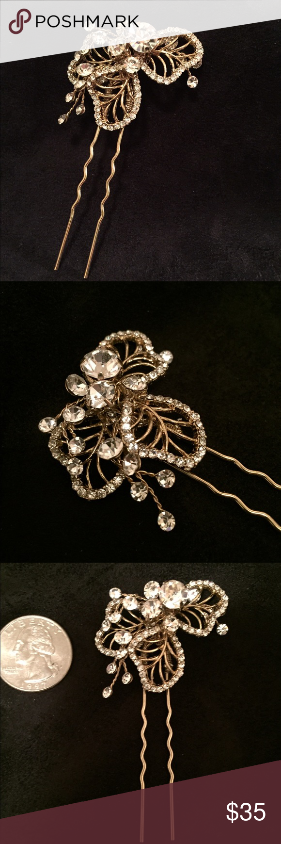 Gold and crystal hair pin prom u wedding perfect this beautiful
