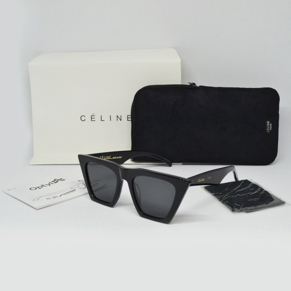 100% Authentic CELINE CL 41468 S Edge Black Gray Sunglasses Women Lady  Italy New a3e855344c16