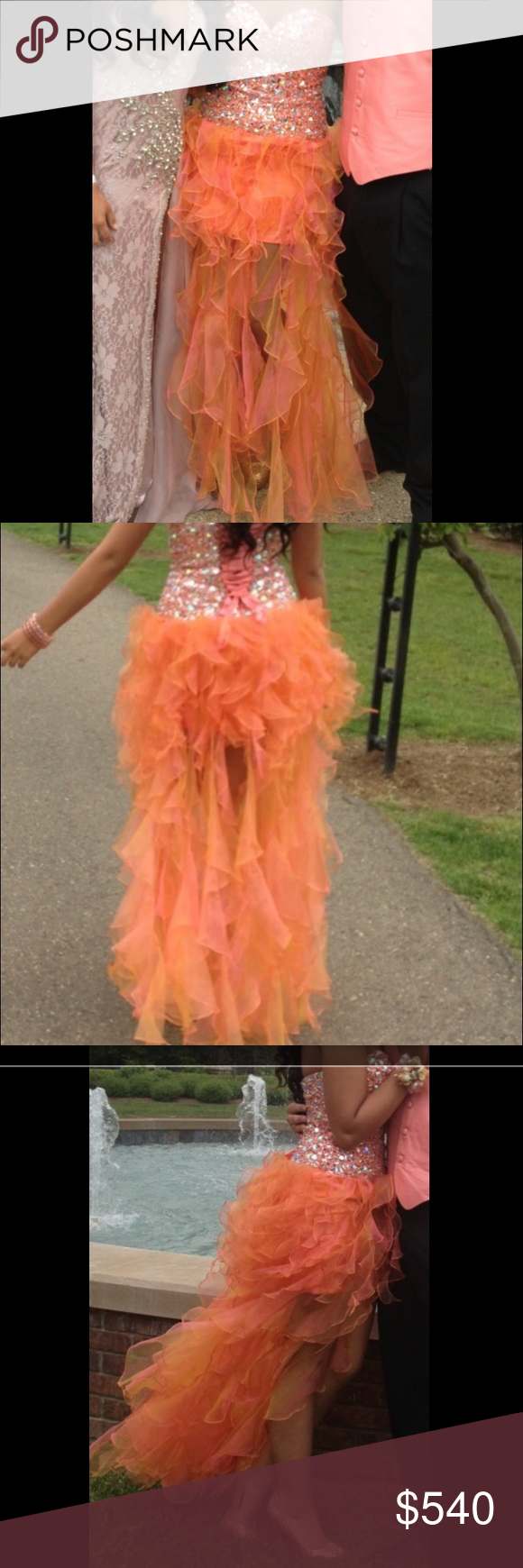 Sherry hill prom dress corset lace up dress with stones all over