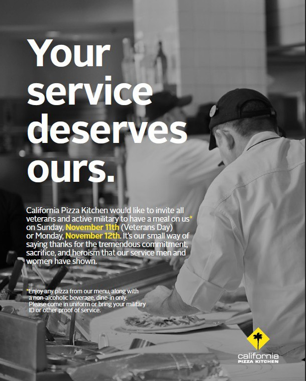 California Pizza Kitchen Coupon U0026 California Pizza Kitchen Promo Code From  The Coupons App. Military Enjoy A Free Meal And Drink Sun U0026 Mon At  California ...