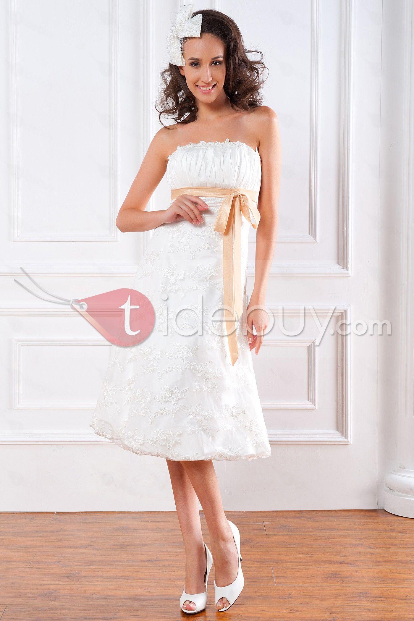 帝国ライン短いミニストラップレス格安レースウェディングドレス