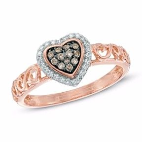 Zales 1/10 CT. T.w. Champagne and White Diamond Heart Frame Cluster Ring in 10K Rose Gold WwhUGV66ED