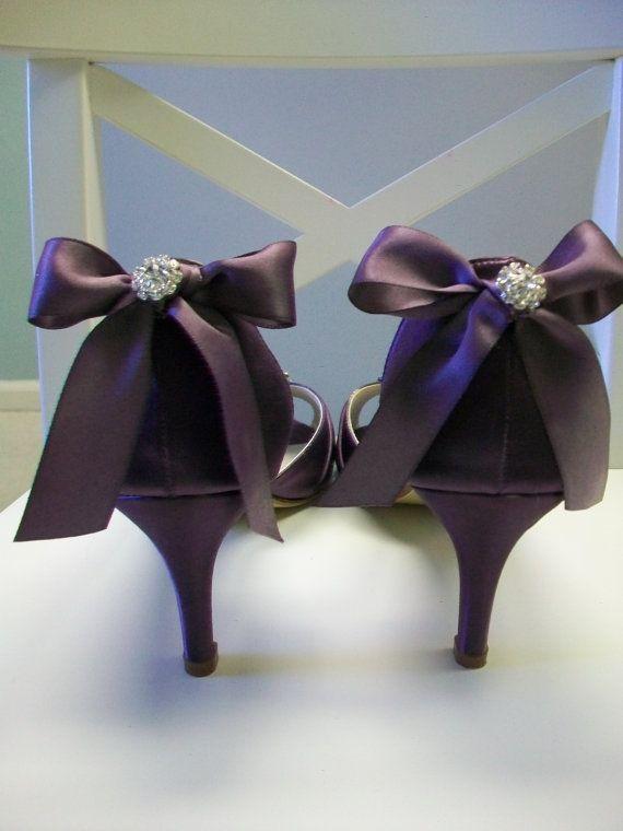 f8de9f2e8e92 Purple Wedding Shoes - Purple Bows - Crystal - Peep Toe - Bridal ...