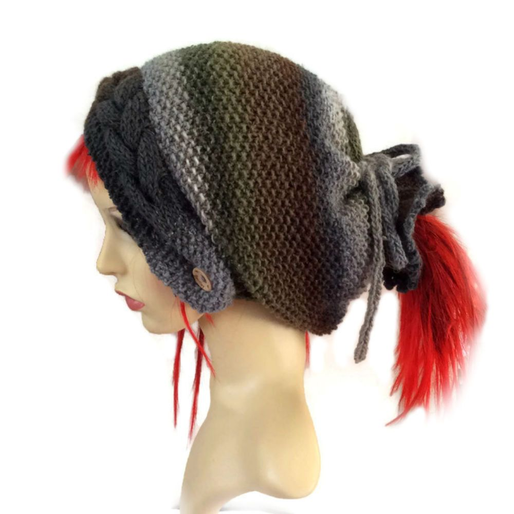 Khaki Dreadlock Hat Slouchy beanie Dreads Hat Tube Hat