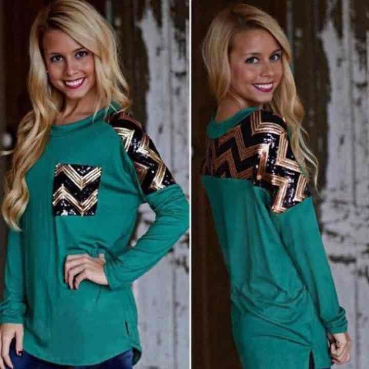 Long Sleeve Teal Chevron Sequins Top - Mercari: Anyone can buy & sell