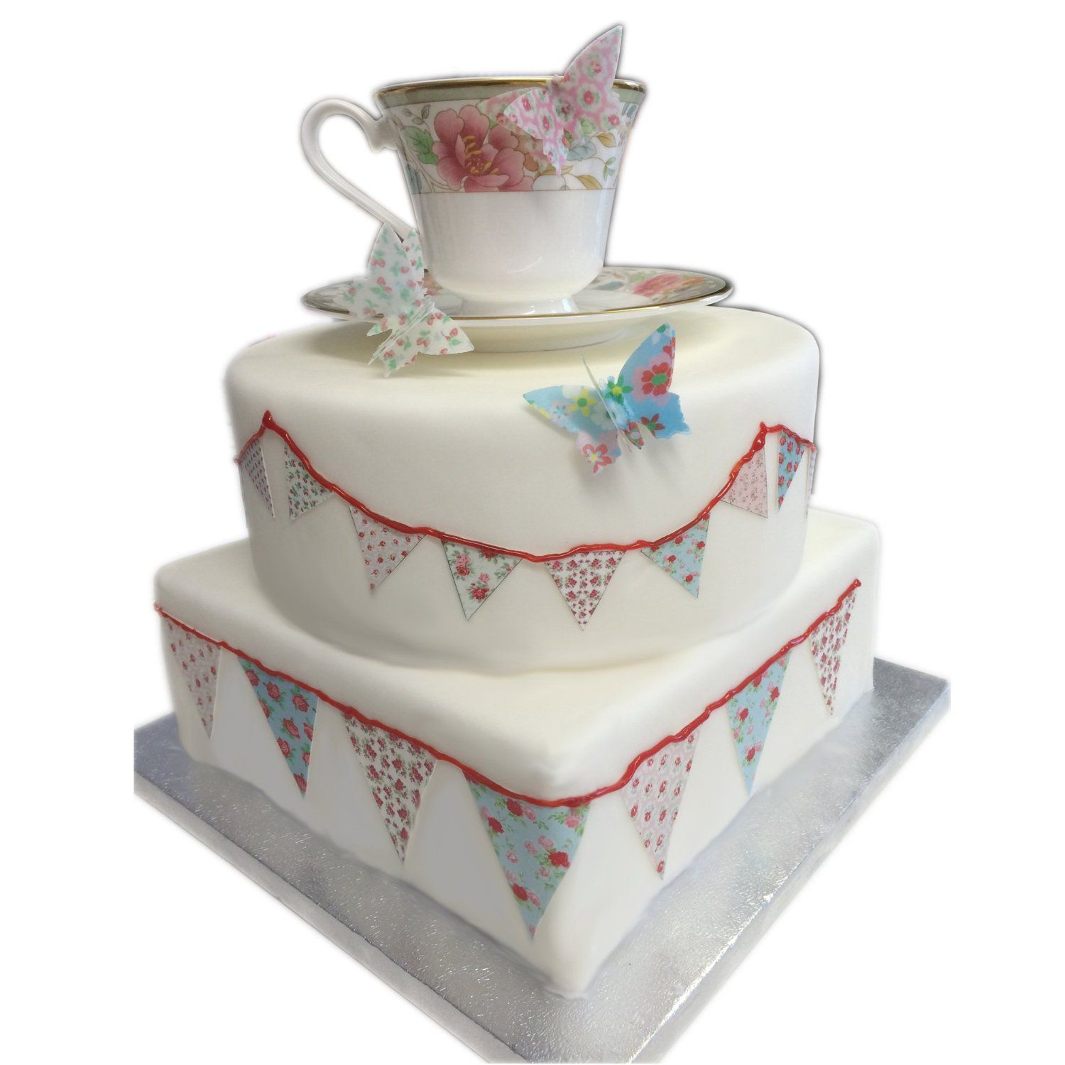 Cath Kidson Vintage Flower Style Bunting Edible Icing Sheet Cake ...