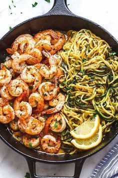 10-Minute Lemon Garlic Butter Shrimp with Zucchini Noodles -  10-Minute Lemon Garlic Butter Shrimp with Zucchini Noodles – This fantastic meal cooks in one ski - #10Minute #Butter #Garlic #hairideas #ideasen5minutos #ideasforkids #Lemon #lluviadeideas #Noodles #Shrimp #Zucchini