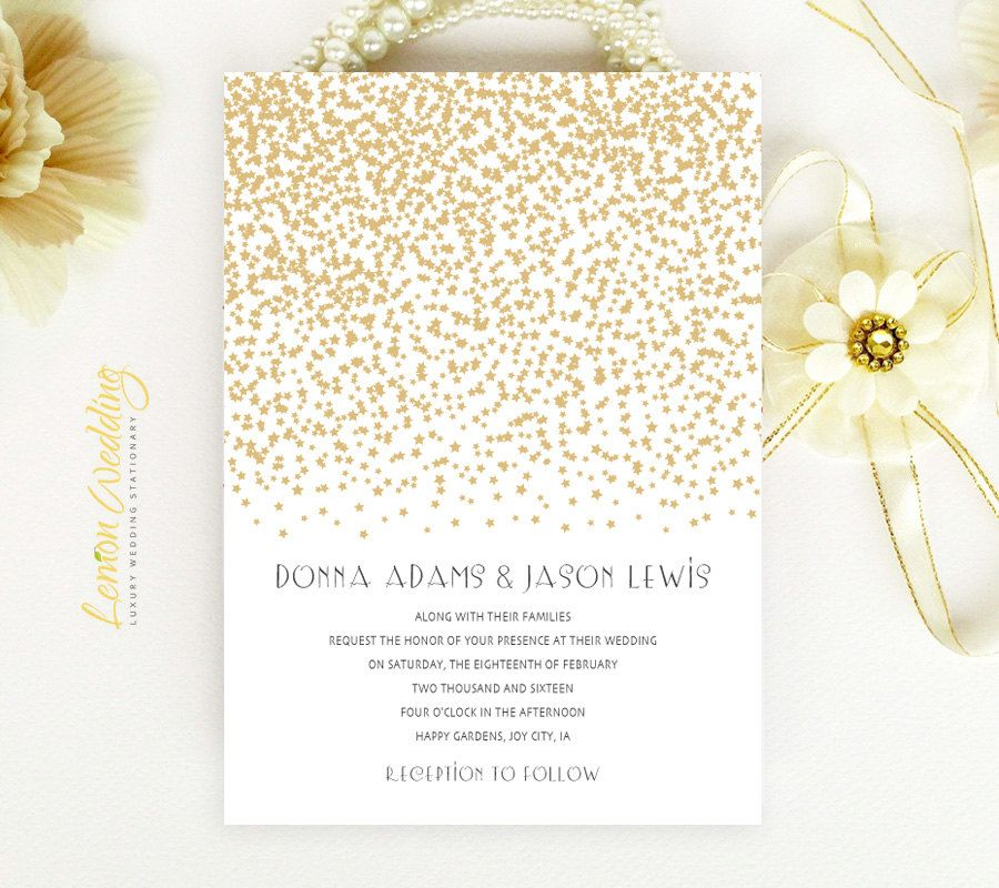 Gold Wedding Invitations | Gold stars wedding invite printed on ...