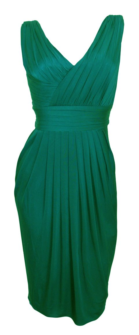 Dark Emerald Green Draped Goddess Cocktail Dress Size 14 New ...