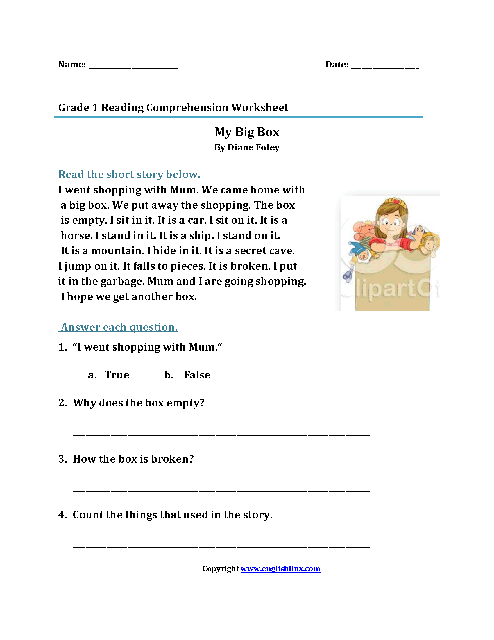 My Big Box\u003cbr\u003eFirst Grade Reading Worksheets   Reading worksheets [ 2200 x 1700 Pixel ]