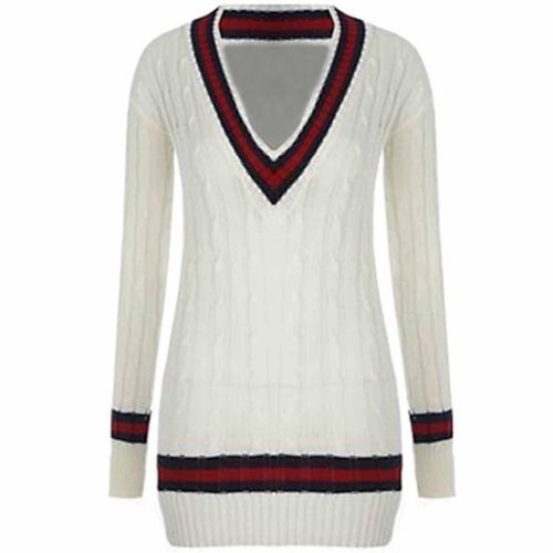 Womens-Vneck-Cable-Knitted-Sweater-Stretch-Long-Sleeve-Ladies-Top-Cricket-Jumper