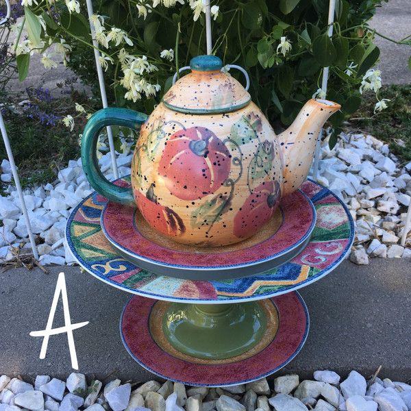 Teapot bird feeder, vintage bird feeder, gift for bird lover, ceramic... ($46) via Polyvore featuring home, outdoors, outdoor decor, garden decor, bird garden decor, ceramic bird sculptures, ceramic sculpture and bird feeders