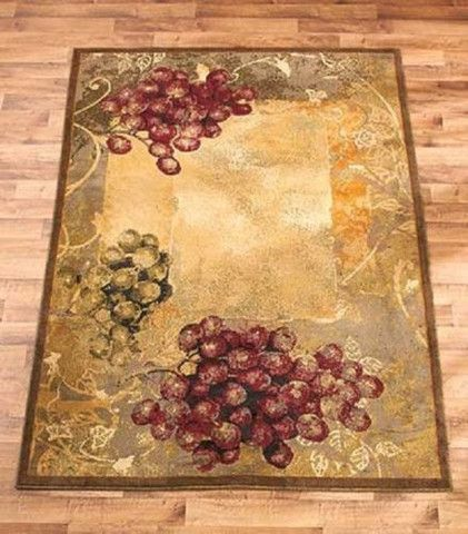 Area Rug Grapes Grapevine Rustic Tuscan Country Vineyard
