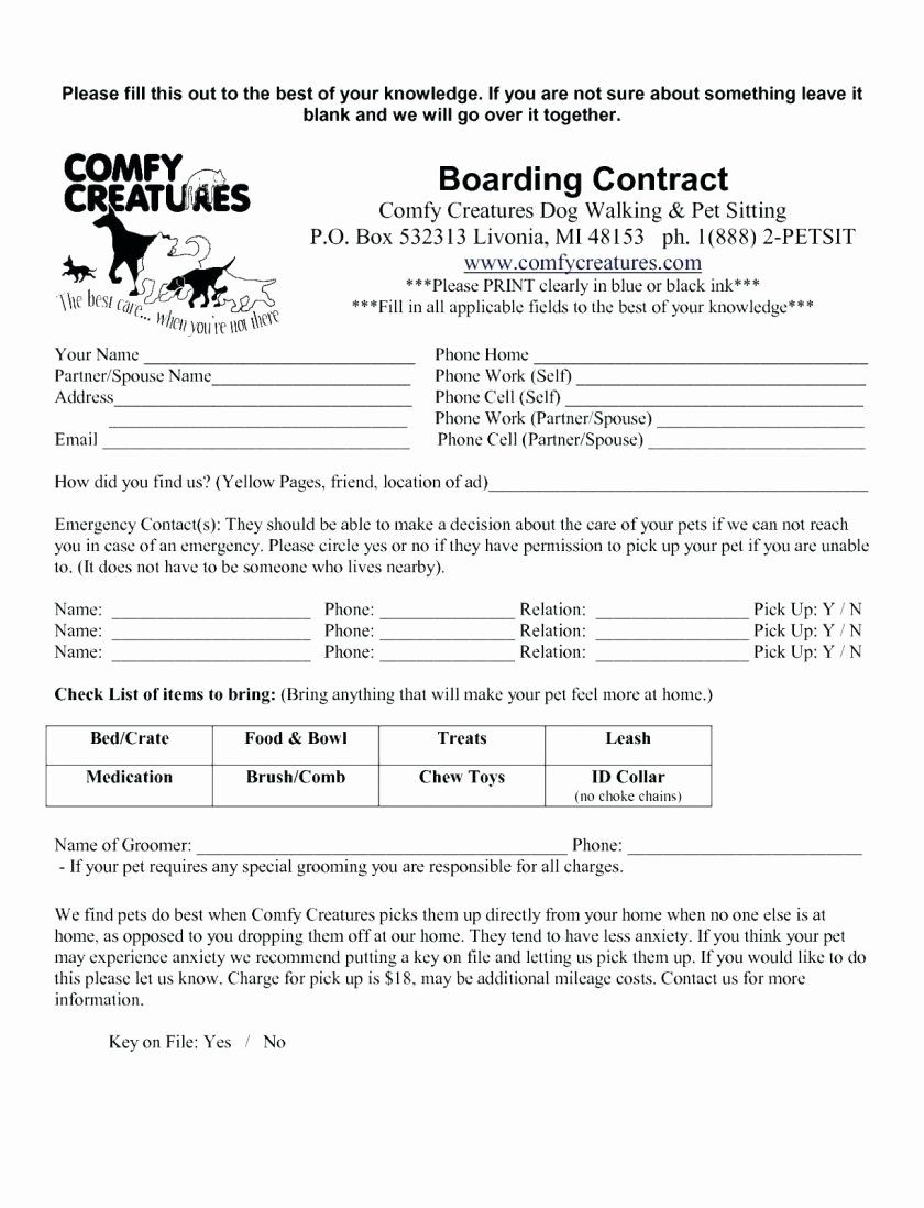 Dog Boarding Report Card Template Best Of Dog Walking Report Cardte Grooming Release Form Client Report Card Template Pet Sitting Contract Contract Template