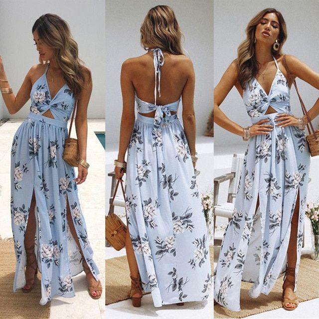 Women Long Maxi Backless Bodycon Sundress love Dress Evening Dress Party Beach