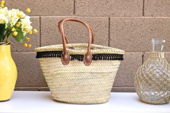 Black Tassel Trim French Market Basket Palm Leaf Tote Straw by fluteofthehour | Etsy