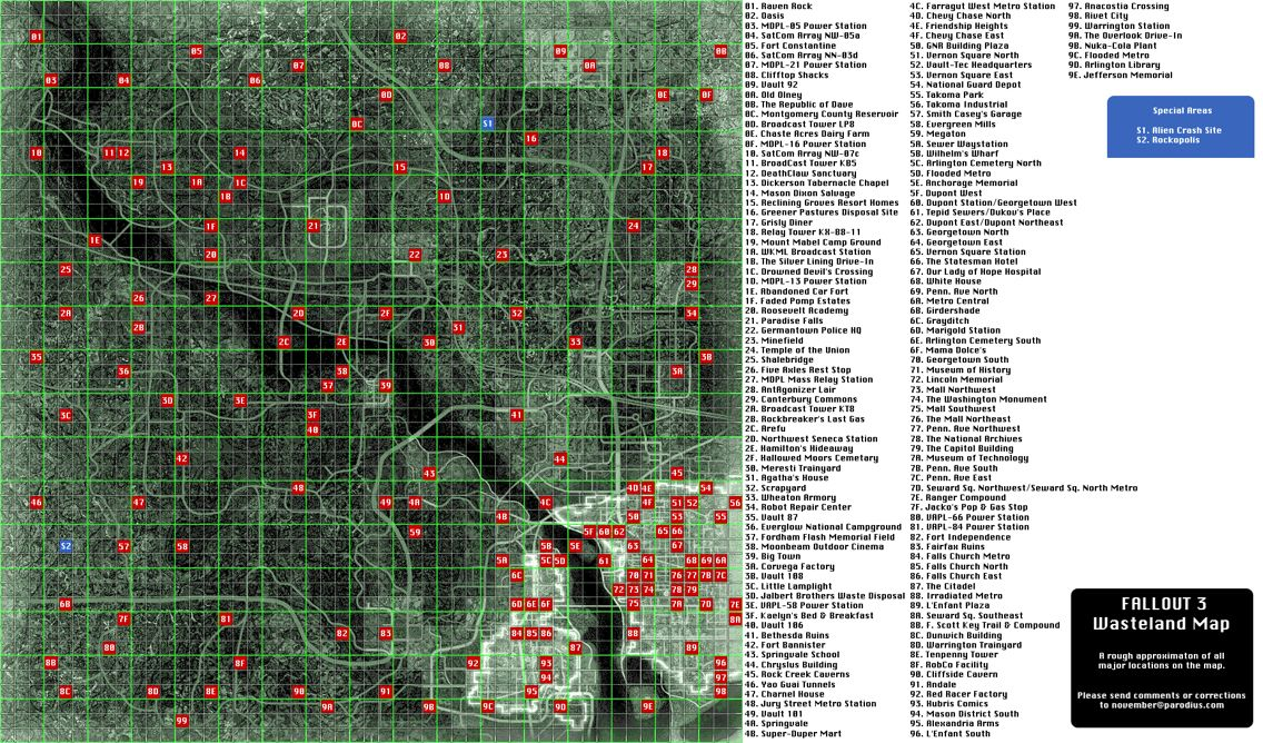 Fallout 3 | Map of all discoverable locations | Games & Toys ...