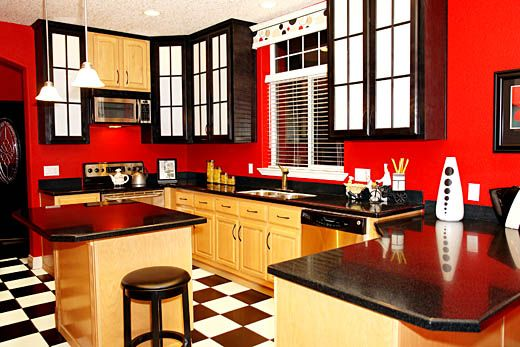 White Black And Red Kitchen Design I Generally Like This