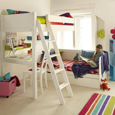Warwick High Sleeper Bed With Daybed Silk White High Sleeper Bed High Sleeper Modern Bunk Beds