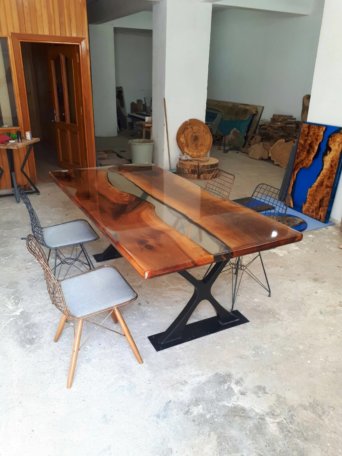 Natural edge dining table w steel hairpin legs from impact imports of - Epoxy Folding Chair Table
