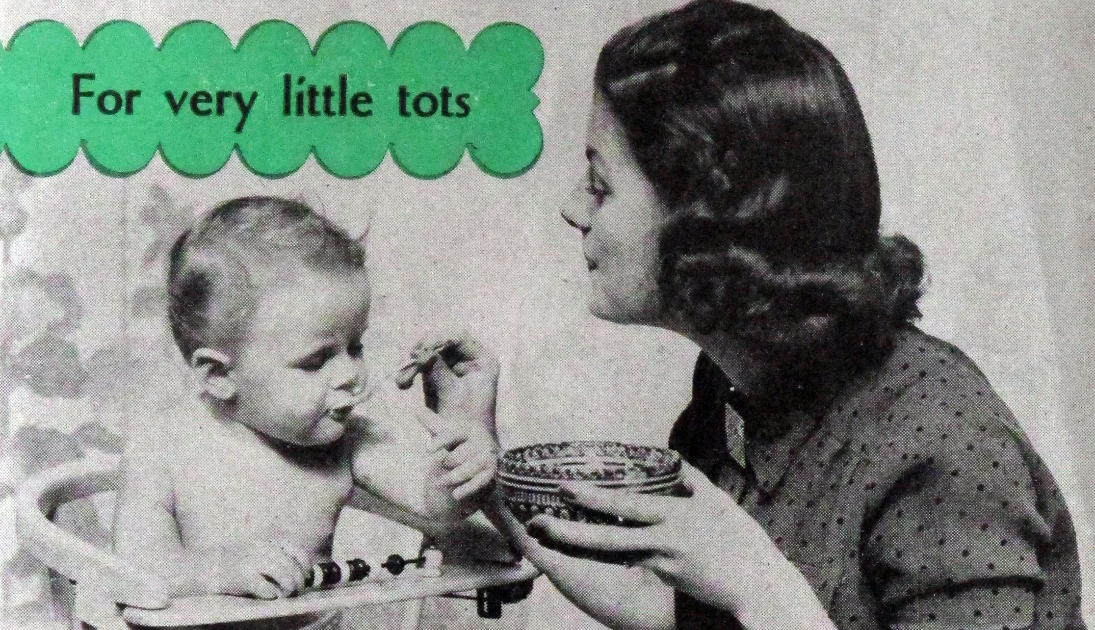 Image from 'Mother... what about our diet? - milk desserts for growing children'. Pamphlet about rennet custard desserts.  US, 1948