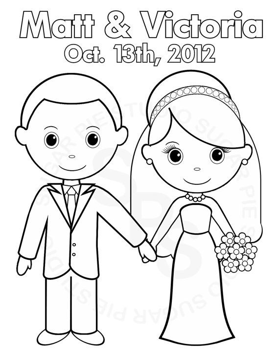 bride and groom coloring pages Personalized Printable Bride Groom Wedding Party Favor childrens  bride and groom coloring pages