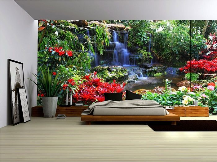 Buy Online Giant Size Wall Mural Paper Wallpapers   Feature Photo Wall.  Forest Waterfall And Part 58