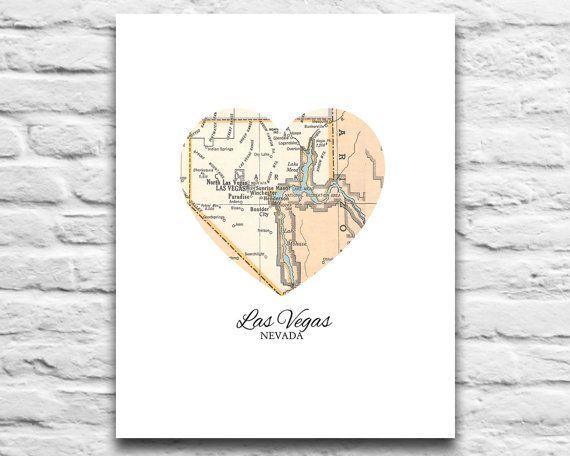 Las Vegas Nevada Vintage Heart Map DIGITAL DOWNLOAD for you 2 Print ...